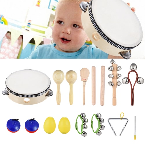 10pcs Musical Instruments Percussion Toy Rhythm Band Set Including Tambourine Maracas Triangle Castanets Wrist Bell for Kids Children Baby