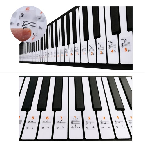 Transparent 37 49 61 Electronic Keyboard 88 Key Piano Stave Note Sticker Notation Version & Sheet Music for White Keys I2970