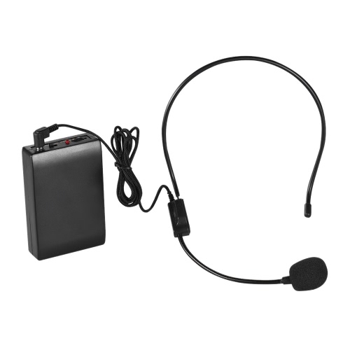 Portable FM Wireless Microphone Headset System Voice Amplifier 1/4in Output Plug with Bodypack Transmitter Receiver for Teacher Speaker Yoga  Instructor Presenter Lecturer Conference Speech Promotion