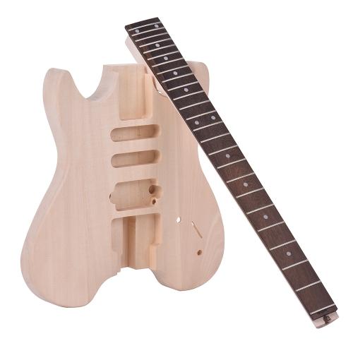 ammoon未完成DIYエレクトリックギターキットバスウッドボディローズウッド指板メイプルネックヘッドストックなしの特別なデザイン