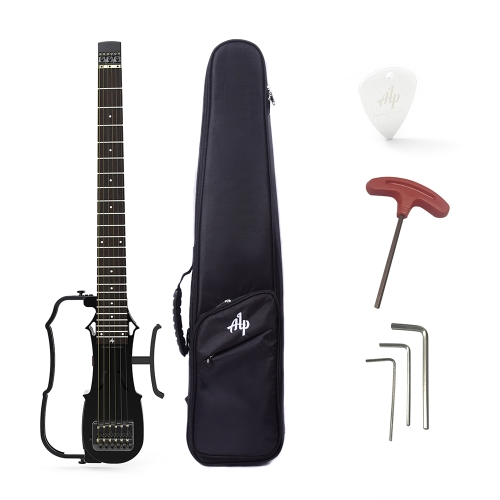 ALP DRA-200 Portable Foldable Headless Travel Acoustic Folk Guitar Built-in Tuner 2-Band EQ with AUX IN Headphone Speaker Jacks Gig Bag