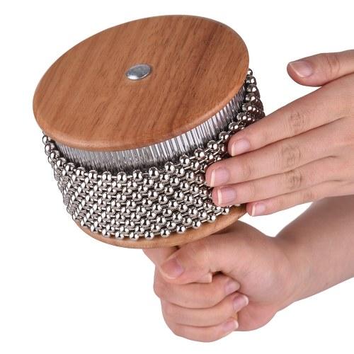 Bois Cabasa Percussion Instrument de musique en métal perlé Chaîne & Cylindre Pop Shaker à main pour Classroom Band Medium Size