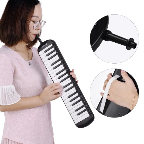 37 Keys Melodica Pianica Piano Style Keyboard Harmonica Mouth Organ with Mouthpiece Cleaning Cloth Carry Case for Beginners Kids Musical Gift