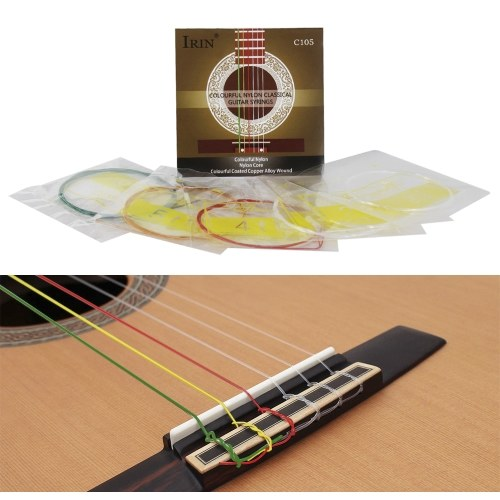 IRIN C105 Colorful Rainbow Acoustic Classical Guitar Strings Nylon Core Colorful Coated Copper Alloy Wound, 6pcs/set (.028-.043)