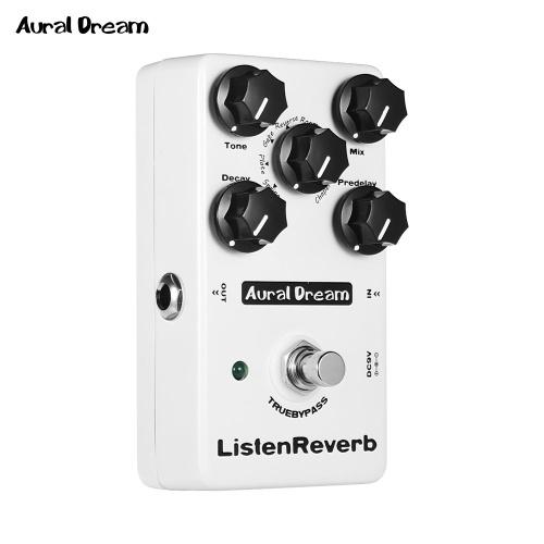 Aural Dream Listen Reverb Pedal de efectos de guitarra con 8 efectos de reverberación True Bypass Pedales de guitarra