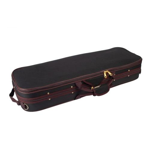 Estuche de violín de tamaño completo de 3/4 Caja de bolsa de almacenamiento Forma oblonga con correas ajustables de higrómetro