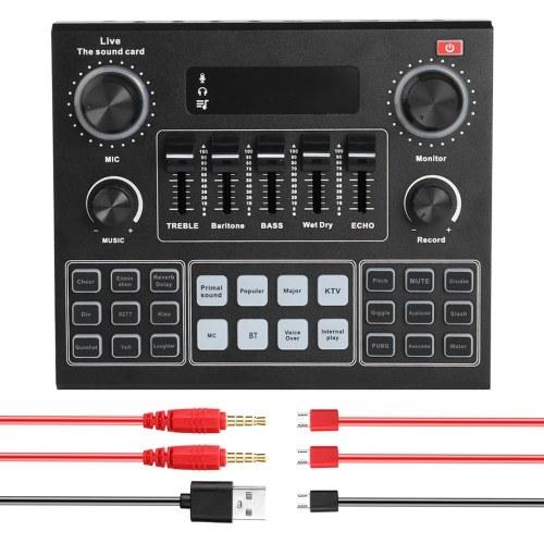 V9 Live Sound Card BT Аккомпанемент Аудиомикшер со звуковыми эффектами Вещание Запись Сеть Пение на телефонах Ноутбук