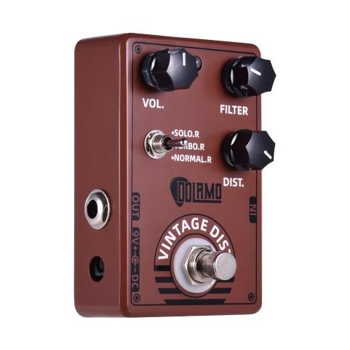 Dolamo D-11 Vintage Distortion Guitar Effektpedal mit Lautstärkefilter und Distortion Controls Echtes Bypass-Design für E-Gitarre