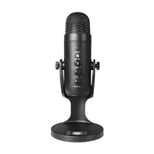 USB da tavolo Microfono da tavolo Microfono a condensatore Computer PC Plug & Play Microfono con controllo del volume Connessione per cuffie per monitoraggio audio per registrazione di podcast Streaming live
