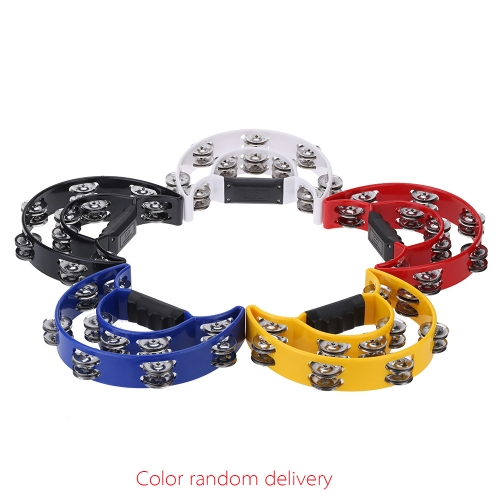 Handheld Tambourine Handbell Timbrel Percussion Musical Toy Half Moon Double Rows 10 Sets Metal Jingles for Party Kids Games (Random Color)