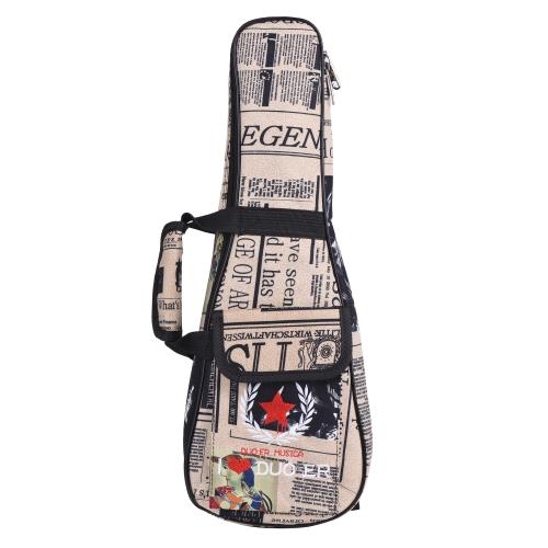 """21 """"Ukelele Bag Case Wzór Papieru Oxford Plecak Regulowany Pasek Naramienny Kieszeń 6mm Uboczny wyściełany"""