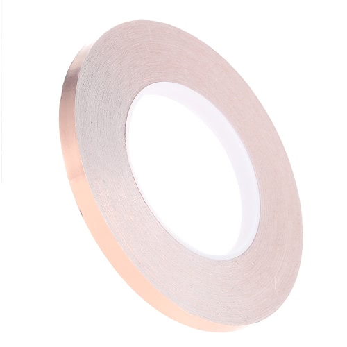 1cm * 50m Copper Foil Tape One Side Single Conductive Self Adhesive EMI Shielding Screening Slug and Snail Barrier for Electric Guitar Bass