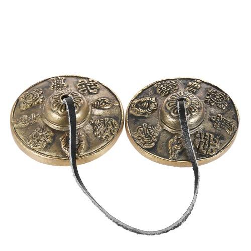2,6in / 6,5cm tibetano meditación tibetana tingsha platillo campana con budista los ocho símbolos auspicioso