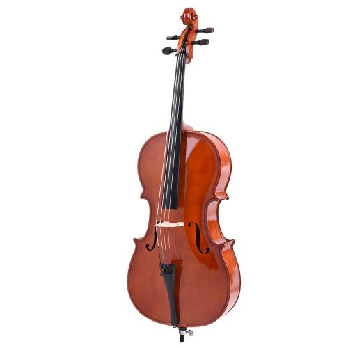 Finitura lucida violoncello legno solido di 3/4 bordo del fronte Basswood con arco colofonia borsa di trasporto per gli studenti appassionati di musica