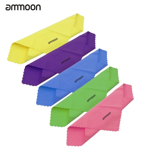 ammoon 5pcs Universal Microfiber Cleaning Polishing Polish Cloth 5 Colors for Musical Instrument Guitar Violin Piano Clarinet Trumpet Sax