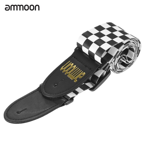 ammoon Adjustable Wide Soft Distinctive Strap Belt for Electric Acoustic Guitar Bass Black&White Squares