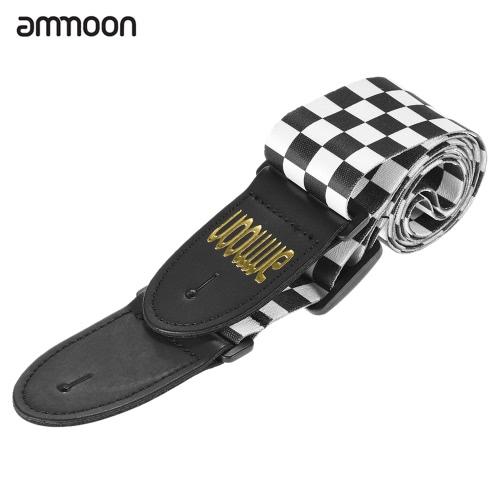 ammoon ajustable correa ancha correa propio suave para la guitarra acústica eléctrica Bass Black & White Squares