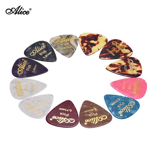 Alice AP-12K 12pcs/pack Hot-stamping Guitar Picks Plectrum Mix Gauges 0.46mm/0.71mm/0.81mm (Random Color)