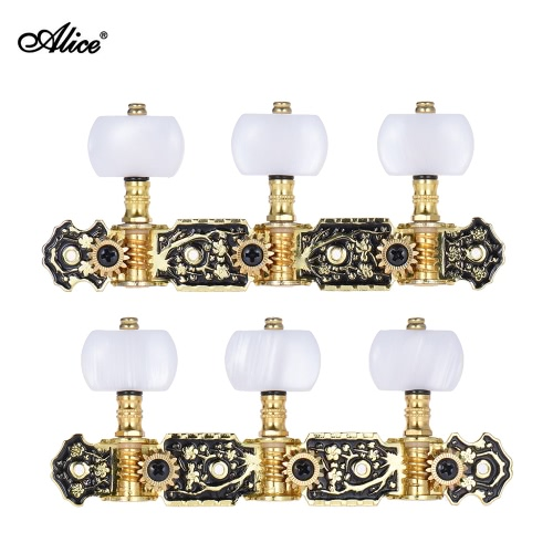 Alice AOS-020HV1P 2pcs(L&R) Acoustic Classical Guitar Tuning Keys Pegs String Tuners 3+3 Machine Heads (Short) Gold and Black Plated