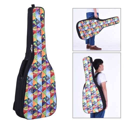 41&42 Inch Acoustic Folk Classical Guitar Gig Bag Case Backpack Water-resistant Thicken Padded Dual Adjustable Shoulder Strap Colorful Triangle Pattern