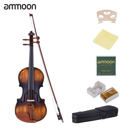 ammoon 4/4 Full Size Violin Matte-Antique Spruce Top Jujube Wood Parts(Peg and Tailpiece) with High Quality Rosin Cleaning Cloth Bridge Violin Strings