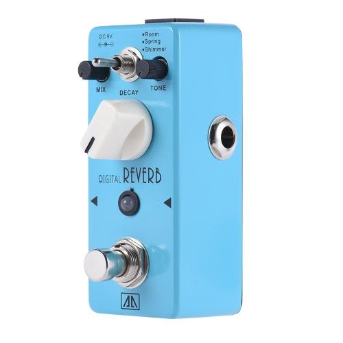 AROMA AOV-5 Digital Reverb Gitarren-Effekt-Pedal 3 Modi Aluminiumgehäuse True Bypass