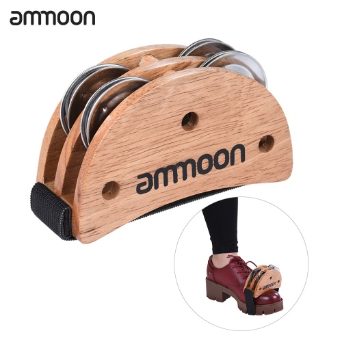 ammoon Elliptical Cajon Box Drum Companion Accessory Foot Jingle Tambourine