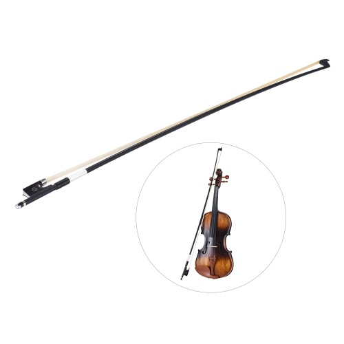 Gut ausgewogene Carbonfaser 4/4 Violine Fiddle Bow Runder Stick Exquisite Rosshaar Ebenholz Frosch