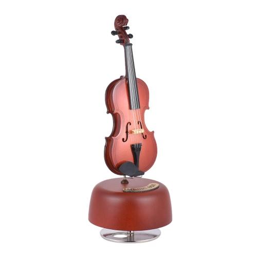 Klasyczna Wind Up Violin Music Box z obrotowym Musical Instrument bazowy Miniaturowa replika Artware prezent