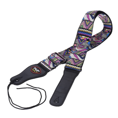 Adjustable Guitar Shoulder Strap with Pick Pocket for Acoustic Folk Classical Electric Guitar Bass Geometric Figure