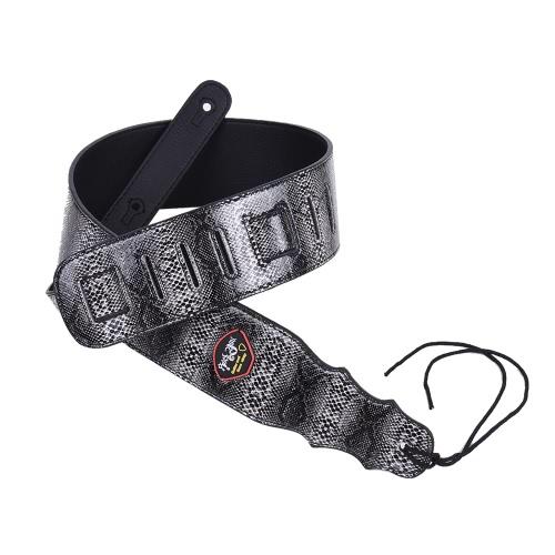 アコースティックフォーククラシックギターベースブラック用のピックポケットネクタイで調節可能ギターのショルダーストラップヘビ革の穀物PUレザー7.2センチメートル/ 2.8in幅
