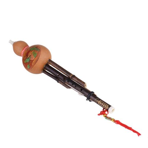 中国の手作りHulusi Gourd CucurbitフルートブラックBamboo Ethnic Woodwind楽器キーCの初心者の音楽愛好家のためのケース