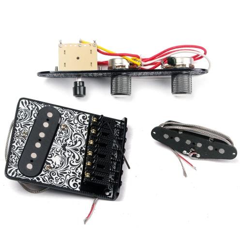 Hochwertige E-Gitarre 6 Sattelschnur Bridge Pickup Set mit 3-Wege-Schalter Control Plate Schöne Dekorative Muster