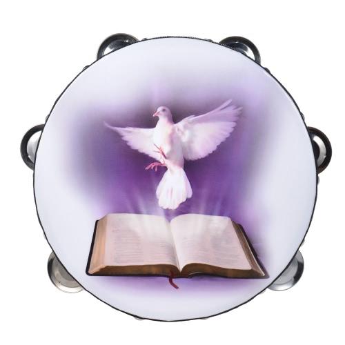 """8 """"ダブルローリングジングルタンバリンハンドベルクラップドラム打楽器教会のための鳩&聖書のパターン"""