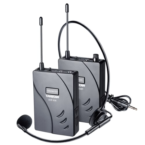TAKSTAR UHF-938 Upgraded Version Wireless Acoustic Tour Guide Transmission System (Transmitter + Receiver) 50m Effective Range 432.5-433.5/ 433-434MHZ with Microphone Earphone