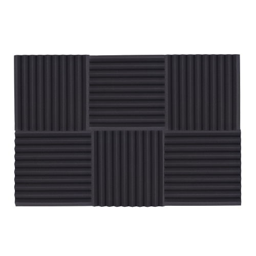 6 Pack Studio Acoustic Foams Sponge Panels Tiles Absorption Sound Insulation Triangle Foam Flame-retardant High Density 50 * 50cm/ 20 * 20in