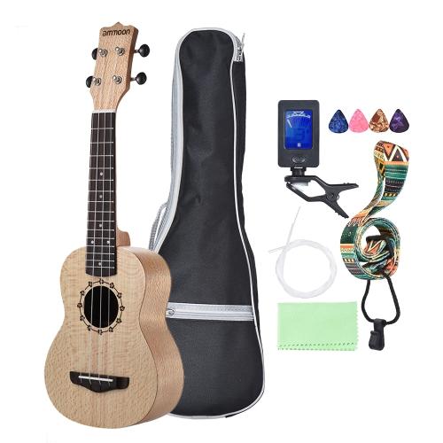 ammoon Soprano Ukelele 21 inch Platanus Body Rosewood Fingerboard Hawaiian Guitar Ukulele Set with Tuner Bag Strap Extra Nylon String Picks Cleaning Cloth
