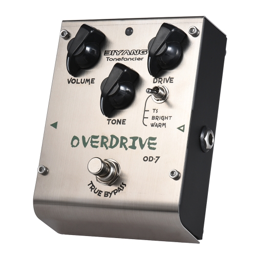 BIYANG OD-7 Tonefacier Series 3 Modes Overdrive Guitar Effect Pedal True Bypass Full Metal Shell