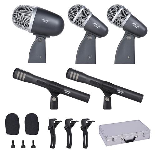 ammoon DM-DX8 Kit microfonico professionale a 5 pezzi con cavo e microfono