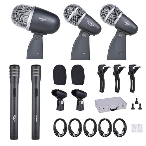ammoon DM-DX8 5-Piece Professional Wired Drum Set Microphone Mic Kit