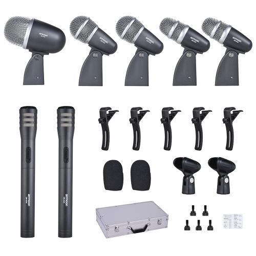 ammoon DM-DX8 7-Piece Professional Wired Drum Set Microphone Mic Kit