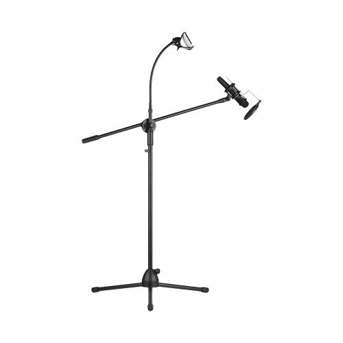 Support de pied de microphone en métal réglable en hauteur de trépied avec le bras de boom 3 supports de microphone et 1 support de Smartphone pour le studio extérieur de téléphone portable en continu