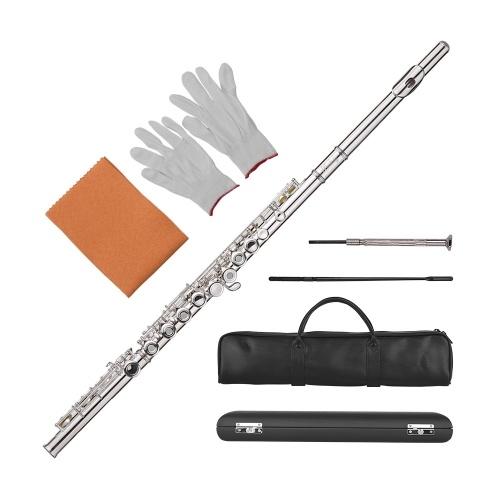 Muslady Concierto de 17 hoyos C Flauta Pore abierto / cerrado Material cuproníquel Instrumento de viento de madera plateado con guantes de tela de limpieza Mini destornillador Estuche de almacenamiento Bolso