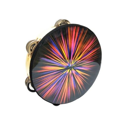 "8 ""KTVパーティーの子供のゲームのための金属のジングルの打楽器の楽器が付いている手持ち型のタンバリンのドラムベル"