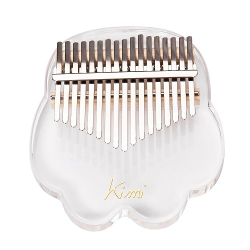 ( Cat Claw)17-Key Kalimba Thumb Piano Transparent Acrylic Material with Carry Bag Musical Note Stickers Tuning Hammer Cleaning Cloth Musical Gift