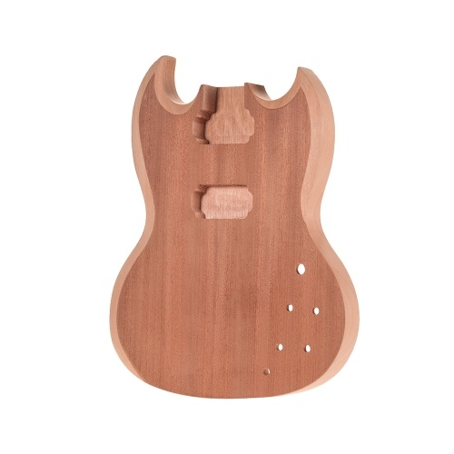 Muslady SG-T1 Unfinished Guitar Body Mahogany Wood Blank Guitar Barrel for SG Style Electric Guitars DIY Parts