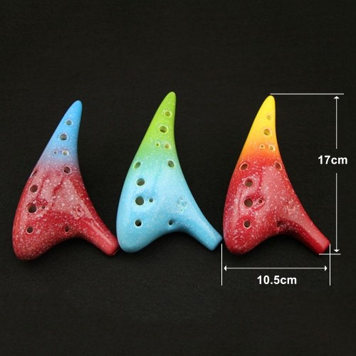 12 Holes Ceramic Ocarina Alto C Starry Style Musical Instrument with Lanyard Music Score Protective Bag For Music Lover and Learner
