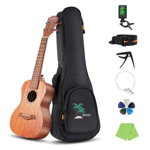 ammoon 21 Inch Acoustic Soprano Ukulele Kit Mahogany Plywood Ukelele with Gig Bag Uke Strap Spare Strings Clip-on Tuner Cleaning Cloth Capo 5pcs Celluloid   Picks for Beginners