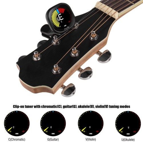 Cherub WST-670 Rechargeable Clip-on Guitar Tuner LCD Color Display