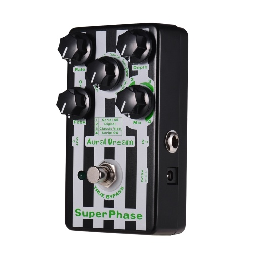 Aural Dream Super Phase Phaser Guitar Effect Pedal 4 Modes 6 Waves Aluminum Alloy Shell with True Bypass